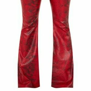 Red snake print faux leather pants
